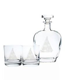 Rolf Glass Sailboat 3 Piece Gift Set - Whiskey Decanter And Rocks Glasses