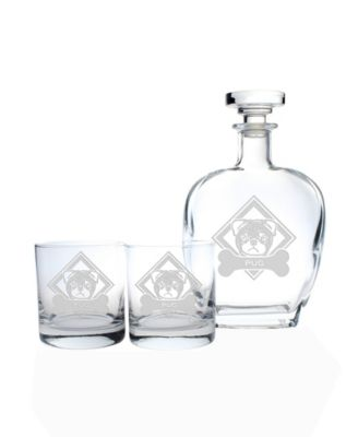 Woof! Poodle 3 Piece Gift Set - Whiskey Decanter And Rocks Glasses
