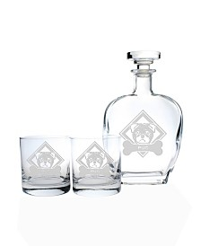 Rolf Glass Woof! Pug 3 Piece Gift Set - Whiskey Decanter And Rocks Glasses
