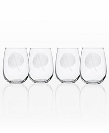 Aspen Leaf Stemless Wine Tumbler 17Oz - Set Of 4 Glasses