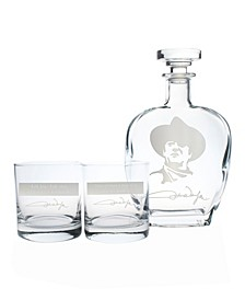 "John Wayne ""Quotes Series 1"" 3 Piece Gift Set - Whiskey Decanter And Rocks Glasses"