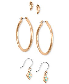 Lucky Brand Rose Gold-Tone 3-Pc. Set Earrings, Created for Macy's