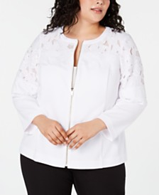 Alfani Plus Size Zip-Front Crochet Jacket, Created for Macy's
