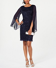 Lace Split-Sleeve Sheath Dress