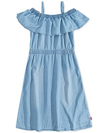 Big Girls Ruffle-Trim Denim Dress