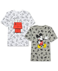 Jem Big Boys Peanuts Snoopy T-Shirt & Disney Mickey Mouse T-Shirt
