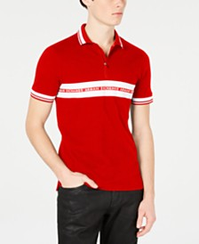 A|X Armani Exchange Men's Tonal Stripe & Logo Zip Polo