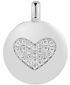 "CHARMBAR™  Swarovski Zirconia Heart ""Love Always"" Reversible Disc Pendant in Sterling Silver"