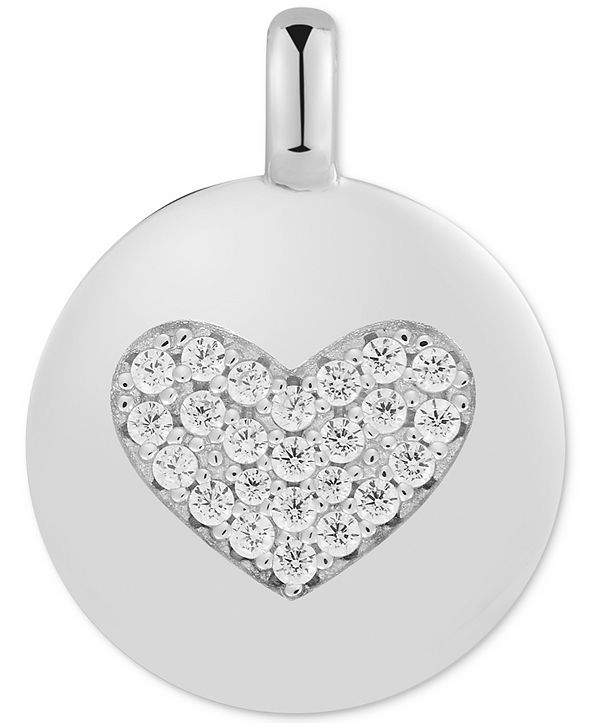 "CHARMBAR  Swarovski Zirconia Heart ""Love Always"" Reversible Disc Pendant in Sterling Silver"