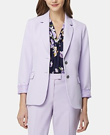Tahari ASL Notch-Lapel Cuffed-Sleeve Blazer