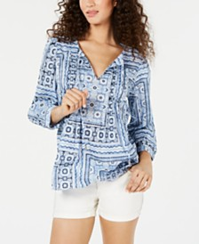 Tommy Hilfiger Cotton Pleated Patchwork-Print Top, Created for Macy's