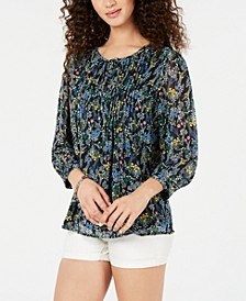 University Floral-Print Peasant Top