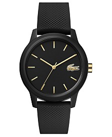 Lacoste Women's 12.12 Black Rubber Strap Watch 36mm