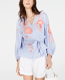 I.N.C. Embroidered Wrap Top, Created for Macy's