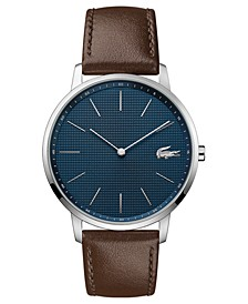 Men's Moon Ultra Slim Brown Leather Strap Watch 40mm