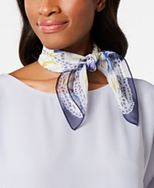 Echo Flower-Lattice Silk Square Scarf