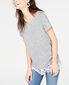 I.N.C. Short-Sleeve Lace-Trim Knit Top, Created for Macy's