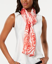 Echo Sketched Flower-Print Silk Oblong Scarf