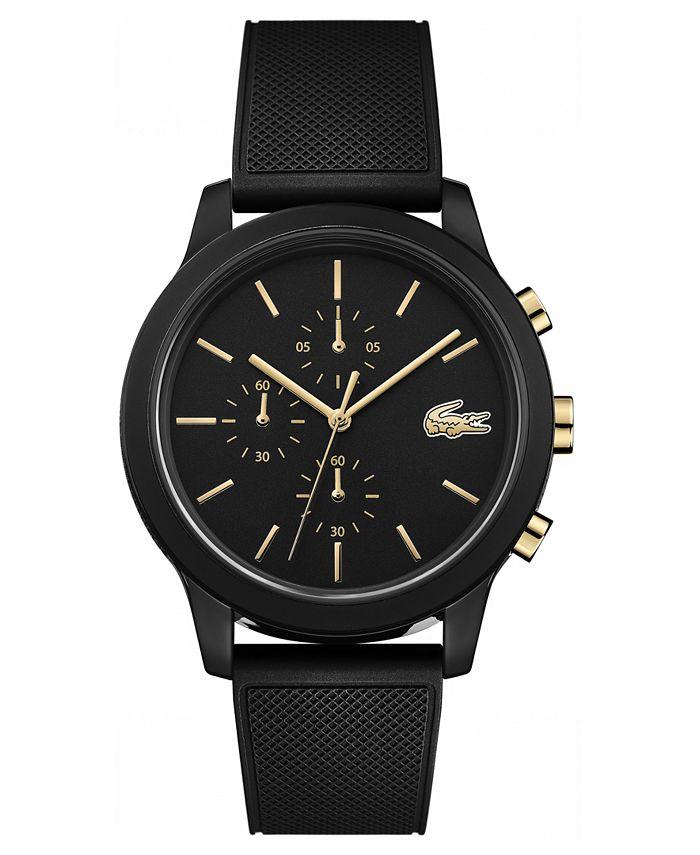 Lacoste - Men's Chronograph 12.12 Black Rubber Strap Watch 42mm