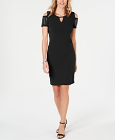 JM Collection Petite Studded Cold-Shoulder Sheath Dress, Created for Macy's