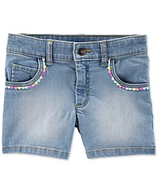 Carter's Little & Big Girls Embroidered Denim Shorts