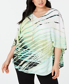JM Collection Plus Size Printed Necklace Capelet Poncho, Created for Macy's