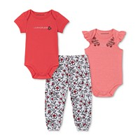 Calvin Klein Baby Girls 3-Pc. Bodysuits & Printed Pants Set