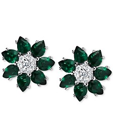 Emerald (2-1/10 ct. t.w.) & Diamond (1/8 ct. t.w.) Flower Stud Earrings in 14k White Gold (Also Available in Sapphire and Certified Ruby)