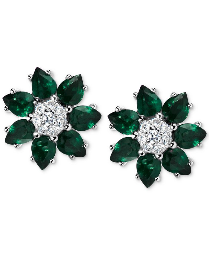 Macy's - Emerald (2-1/10 ct. t.w.) & Diamond (1/8 ct. t.w.) Flower Stud Earrings in 14k White Gold (Also Available in Sapphire and Certified Ruby)