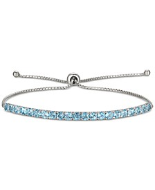 Blue Topaz (2 ct. t.w.) Bolo Bracelet in 10k White Gold(Also Available in Amethyst & Garnet)