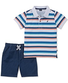 Baby Boys 2-Pc. Striped Polo Shirt & Shorts Set