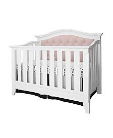 Magnolia 4-in-1 Convertible Upholstered Crib- White,Pink