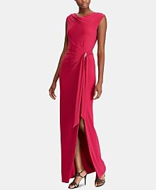 Lauren Ralph Lauren Brooch Jersey Cowl-Neck Gown