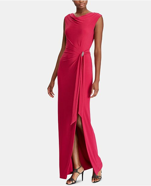 c2f5c891045 Lauren Ralph Lauren Brooch Jersey Cowl-Neck Gown   Reviews - Dresses ...