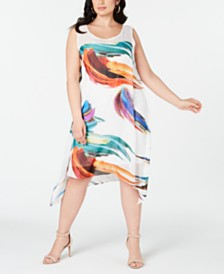 Robbie Bee Plus Size Printed Shift Dress