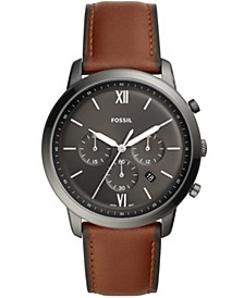 Mens Neutra Chrono gray case with brown leather strap