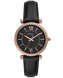 Women's Carlie Black Leather Strap Watch 36mm