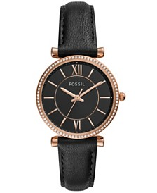 Fossil Women's Carlie Black Leather Strap Watch 36mm