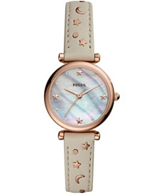 Fossil Women's Mini Carlie Off White Leather Strap Watch 28mm