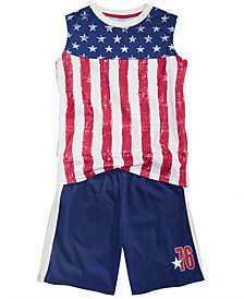 Max & Olivia Little & Big Boys 2-Pc. Flag Pajamas Set