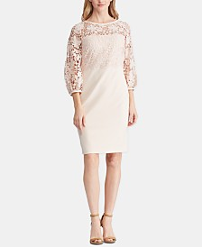 Lauren Ralph Lauren Lace-Trim Jersey Dress