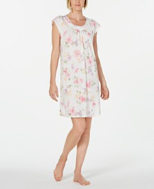 Miss Elaine Lace-Trim Printed Knit Nightgown