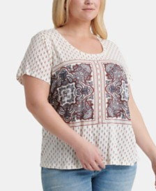 Lucky Brand Plus Size Paisley Border-Print Top