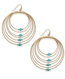 Thalia Sodi Gold-Tone & Bead Graduated Drop Hoop Earrings, Created for Macy's