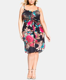 City Chic Trendy Plus Size Palm-Print Twist Dress