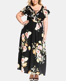 City Chic Trendy Plus Size Tuscan Rose Maxi Dress