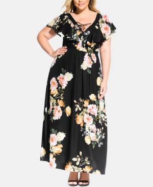 City Chic Dresses TRENDY PLUS SIZE TUSCAN ROSE MAXI DRESS