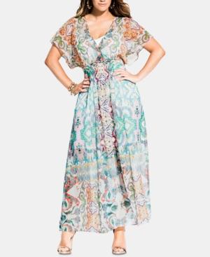City Chic Dresses TRENDY PLUS SIZE CASABLANCA PRINTED KIMONO MAXI DRESS