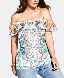 Trendy Plus Size Casablanca Off-The-Shoulder Top