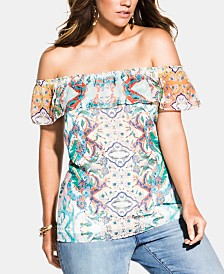 City Chic Trendy Plus Size Casablanca Off-The-Shoulder Top